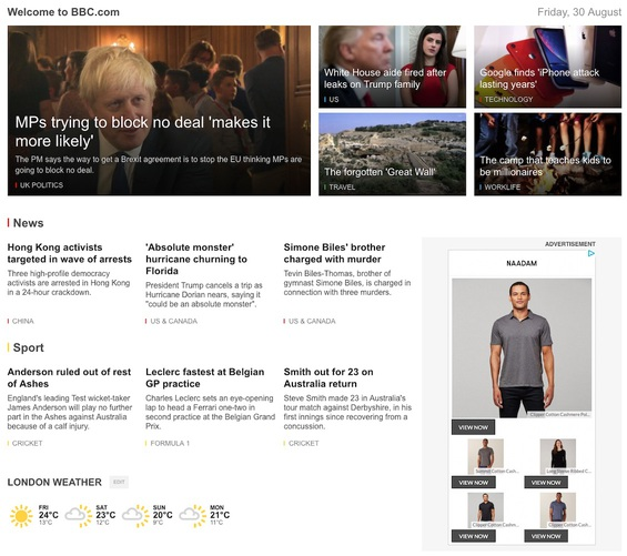 The CNN home page, with a hero image for the main story and thumbnails removed from each of the supporting stories.