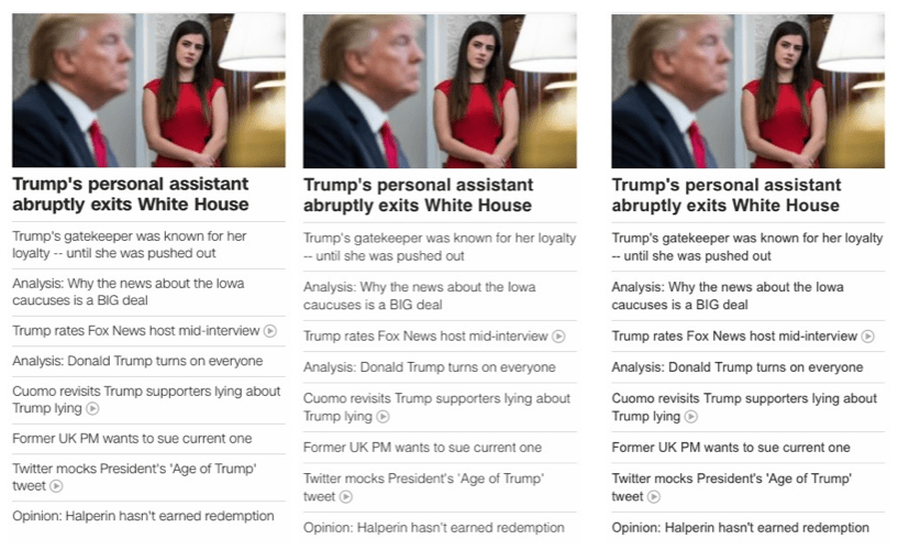 The CNN site uses a web font (left) for text display, but falling back to Helvetica (middle) or Arial (left) has only a very minimal visual impact.