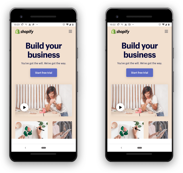 One of these screenshots of the Shopify homepage loads high-resolution images, one doesn't. Yet the two pages look virtually identical.